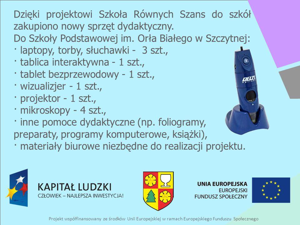 Projekt współfinansowany ze środków Unii Europejskiej w ramach Europejskiego Funduszu Społecznego Dzięki projektowi Szkoła Równych Szans do szkół zaku