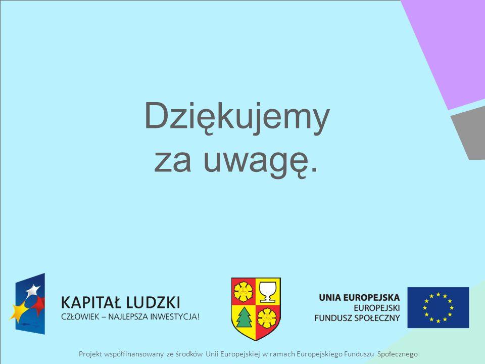 Projekt współfinansowany ze środków Unii Europejskiej w ramach Europejskiego Funduszu Społecznego Dziękujemy za uwagę.