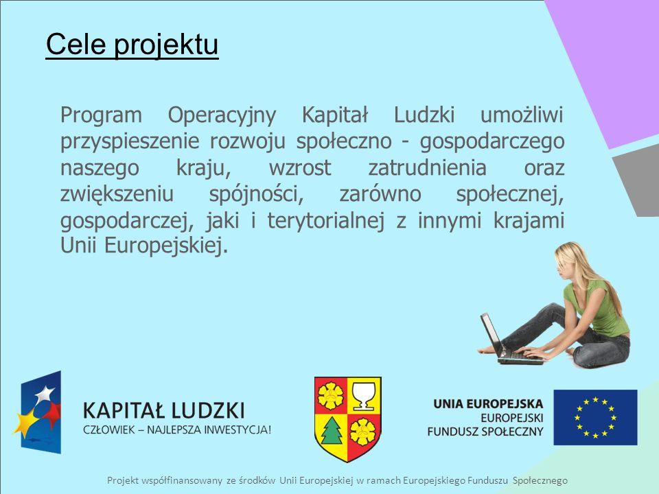 Projekt współfinansowany ze środków Unii Europejskiej w ramach Europejskiego Funduszu Społecznego Cele projektu Program Operacyjny Kapitał Ludzki umożliwi przyspieszenie rozwoju społeczno - gospodarczego naszego kraju, wzrost zatrudnienia oraz zwiększeniu spójności, zarówno społecznej, gospodarczej, jaki i terytorialnej z innymi krajami Unii Europejskiej.