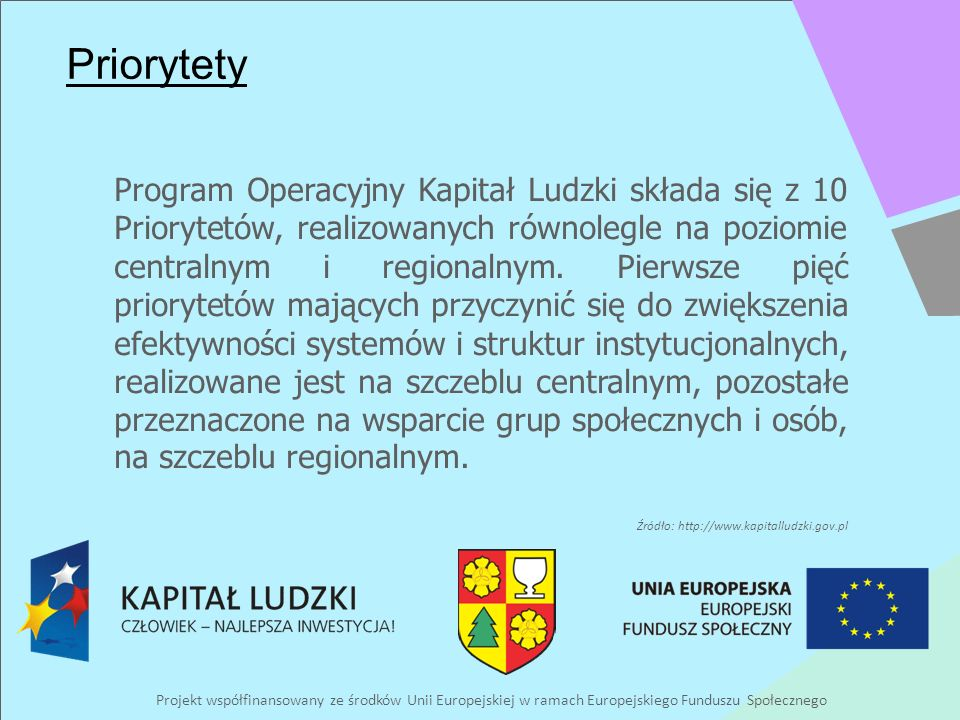 Projekt współfinansowany ze środków Unii Europejskiej w ramach Europejskiego Funduszu Społecznego Priorytety Program Operacyjny Kapitał Ludzki składa się z 10 Priorytetów, realizowanych równolegle na poziomie centralnym i regionalnym.