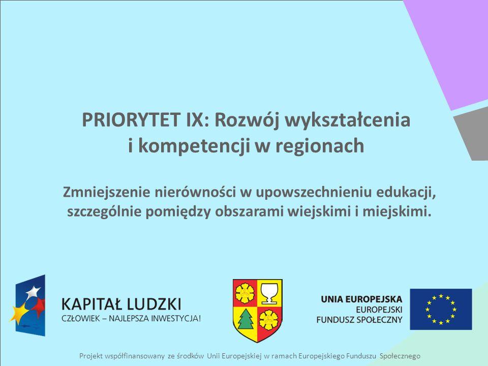Projekt współfinansowany ze środków Unii Europejskiej w ramach Europejskiego Funduszu Społecznego PRIORYTET IX: Rozwój wykształcenia i kompetencji w regionach Zmniejszenie nierówności w upowszechnieniu edukacji, szczególnie pomiędzy obszarami wiejskimi i miejskimi.