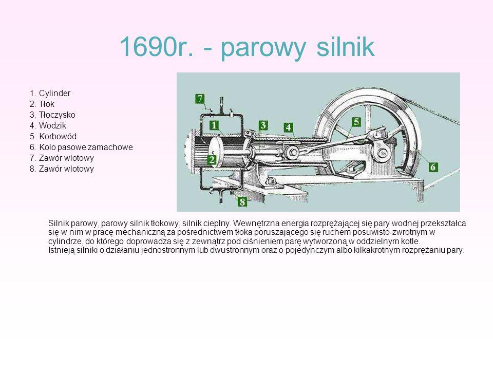 1690r. - parowy silnik 1. Cylinder 2. Tłok 3. Tłoczysko 4. Wodzik 5. Korbowód 6. Kolo pasowe zamachowe 7. Zawór wlotowy 8. Zawór wlotowy Silnik parowy