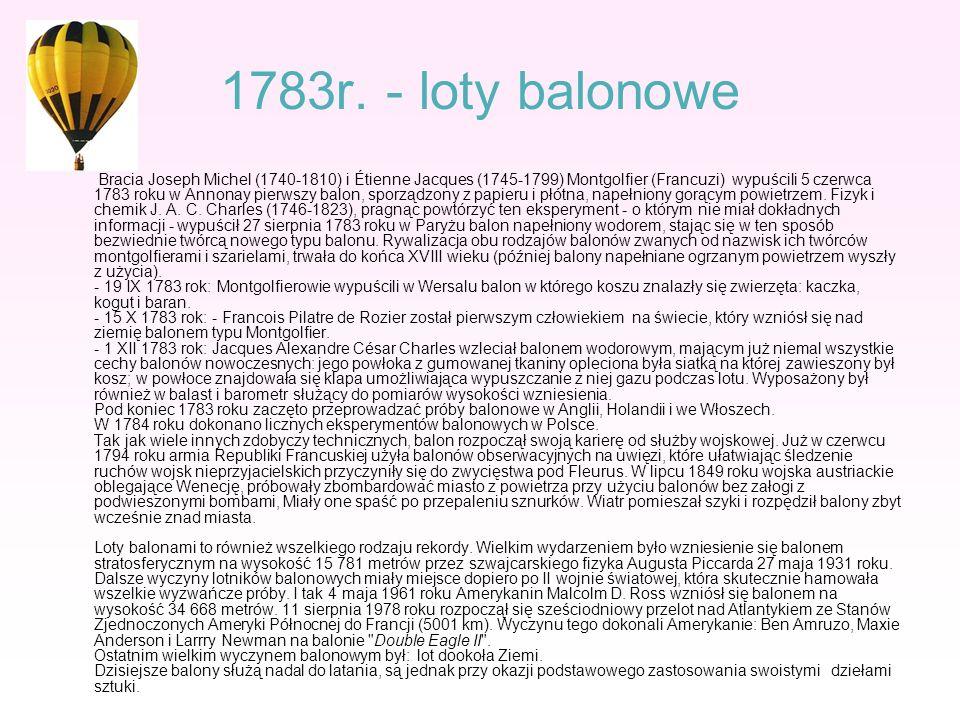 1783r. - loty balonowe Bracia Joseph Michel (1740-1810) i Étienne Jacques (1745-1799) Montgolfier (Francuzi) wypuścili 5 czerwca 1783 roku w Annonay p