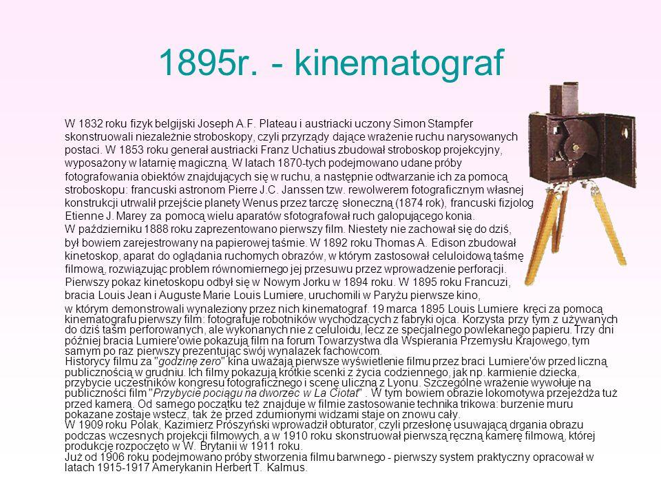 1895r. - kinematograf W 1832 roku fizyk belgijski Joseph A.F. Plateau i austriacki uczony Simon Stampfer skonstruowali niezależnie stroboskopy, czyli