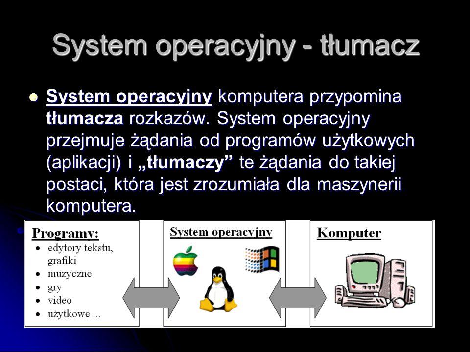 Definicja System operacyjny (ang. skrót OS - Operating System) - jest programem komputerowym, bądź zbiorem programów, który zarządza sprzętem oraz apl