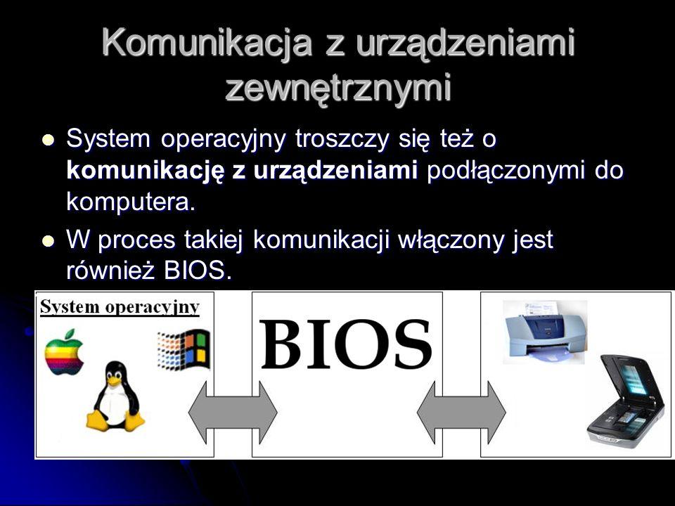 Komunikacja z urządzeniami zewnętrznymi System operacyjny troszczy się też o komunikację z urządzeniami podłączonymi do komputera.