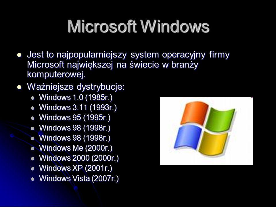 Microsoft Windows Jest to najpopularniejszy system operacyjny firmy Microsoft największej na świecie w branży komputerowej.