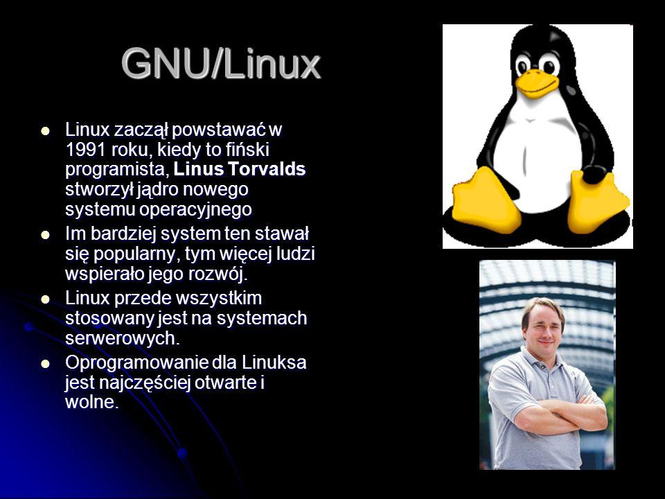 GNU/Linux Linux zaczął powstawać w 1991 roku, kiedy to fiński programista, Linus Torvalds stworzył jądro nowego systemu operacyjnego Linux zaczął powstawać w 1991 roku, kiedy to fiński programista, Linus Torvalds stworzył jądro nowego systemu operacyjnego Im bardziej system ten stawał się popularny, tym więcej ludzi wspierało jego rozwój.