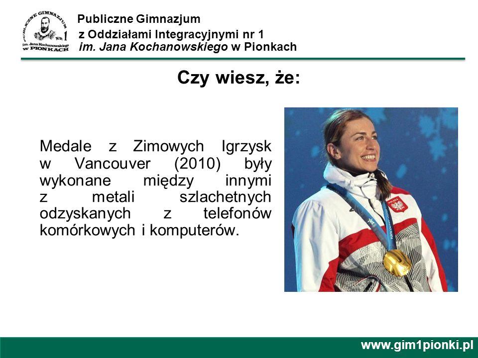 Publiczne Gimnazjum z Oddziałami Integracyjnymi nr 1 im. Jana Kochanowskiego w Pionkach Medale z Zimowych Igrzysk w Vancouver (2010) były wykonane mię