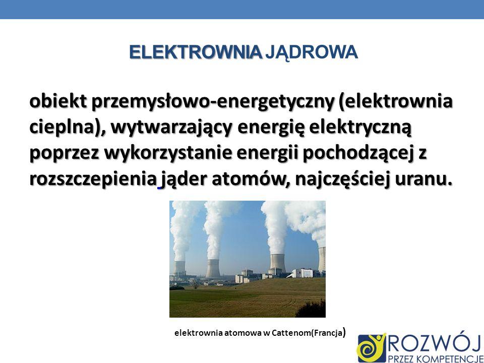ELEKTROWNIA ELEKTROWNIA JĄDROWA obiekt przemysłowo-energetyczny (elektrownia cieplna), wytwarzający energię elektryczną poprzez wykorzystanie energii