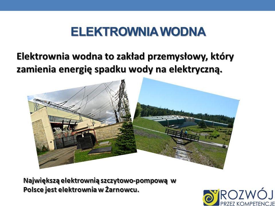 ELEKTROWNIA WODNA Elektrownia wodna to zakład przemysłowy, który zamienia energię spadku wody na elektryczną. Największą elektrownią szczytowo-pompową