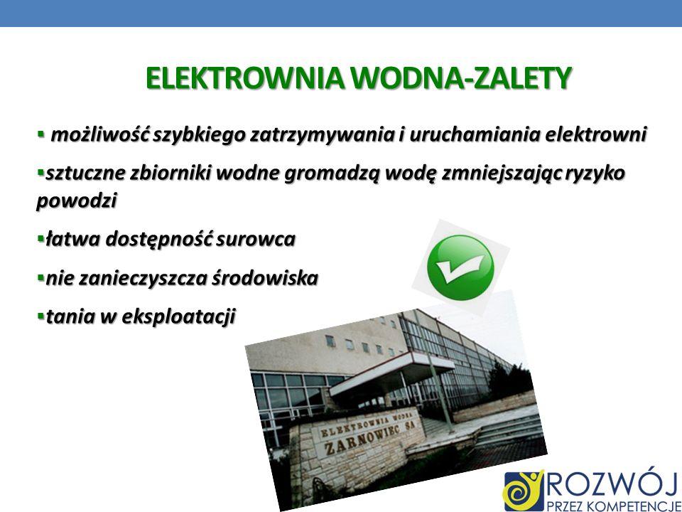 ELEKTROWNIA WODNA-ZALETY możliwość szybkiego zatrzymywania i uruchamiania elektrowni możliwość szybkiego zatrzymywania i uruchamiania elektrowni sztuc