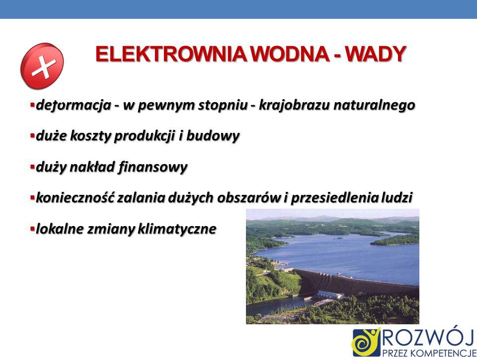 ELEKTROWNIA WODNA - WADY deformacja - w pewnym stopniu - krajobrazu naturalnego deformacja - w pewnym stopniu - krajobrazu naturalnego duże koszty pro