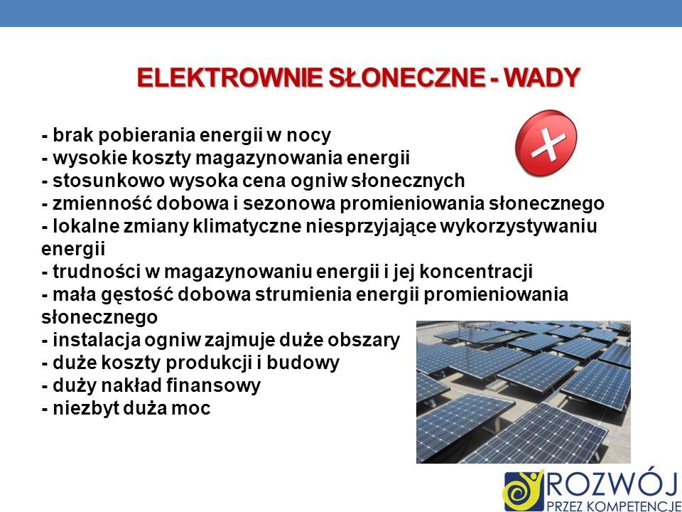ELEKTROWNIE SŁONECZNE - WADY - brak pobierania energii w nocy - wysokie koszty magazynowania energii - stosunkowo wysoka cena ogniw słonecznych - zmie
