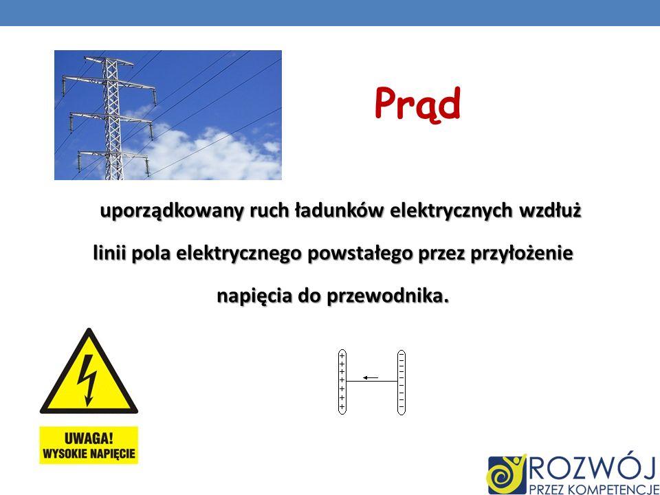 Prąd uporządkowany ruch ładunków elektrycznych wzdłuż linii pola elektrycznego powstałego przez przyłożenie linii pola elektrycznego powstałego przez