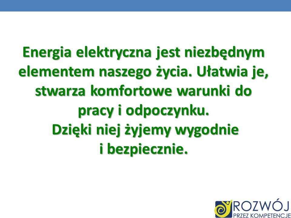 Energia elektryczna jest niezbędnym elementem naszego życia. Ułatwia je, stwarza komfortowe warunki do pracy i odpoczynku. Dzięki niej żyjemy wygodnie