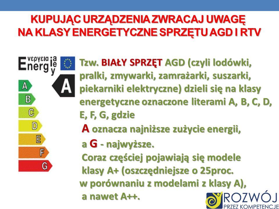 KUPUJĄC URZĄDZENIA ZWRACAJ UWAGĘ NA KLASY ENERGETYCZNE SPRZĘTU AGD I RTV Tzw. BIAŁY SPRZĘT AGD (czyli lodówki, pralki, zmywarki, zamrażarki, suszarki,