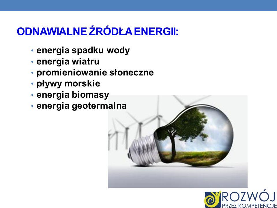 ODNAWIALNE ŹRÓDŁA ENERGII: energia spadku wody energia wiatru promieniowanie słoneczne pływy morskie energia biomasy energia geotermalna