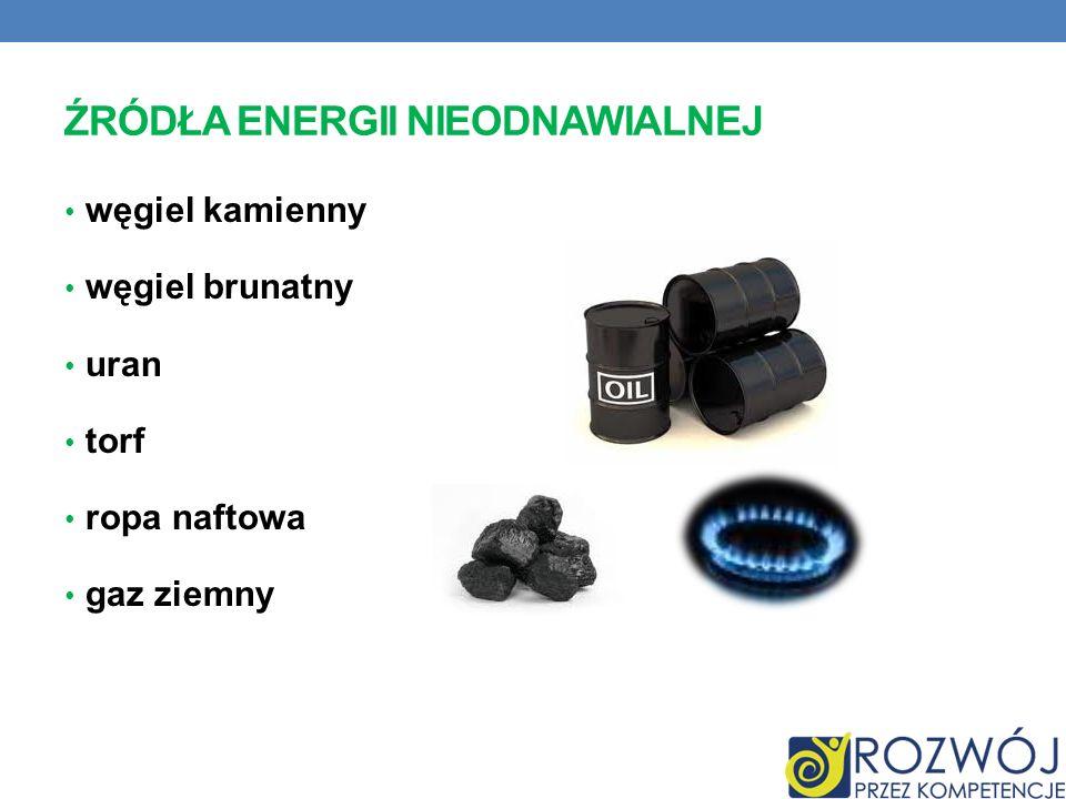 ŹRÓDŁA ENERGII NIEODNAWIALNEJ węgiel kamienny węgiel brunatny uran torf ropa naftowa gaz ziemny