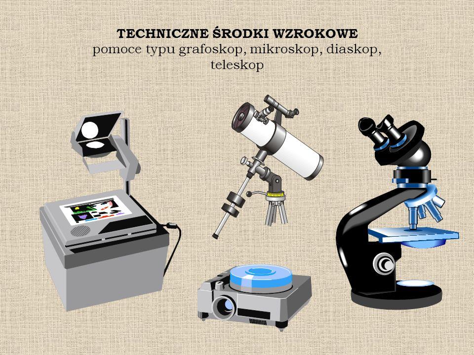 TECHNICZNE ŚRODKI WZROKOWE pomoce typu grafoskop, mikroskop, diaskop, teleskop