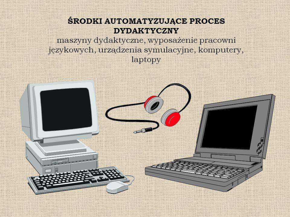 ŚRODKI AUTOMATYZUJĄCE PROCES DYDAKTYCZNY maszyny dydaktyczne, wyposażenie pracowni językowych, urządzenia symulacyjne, komputery, laptopy