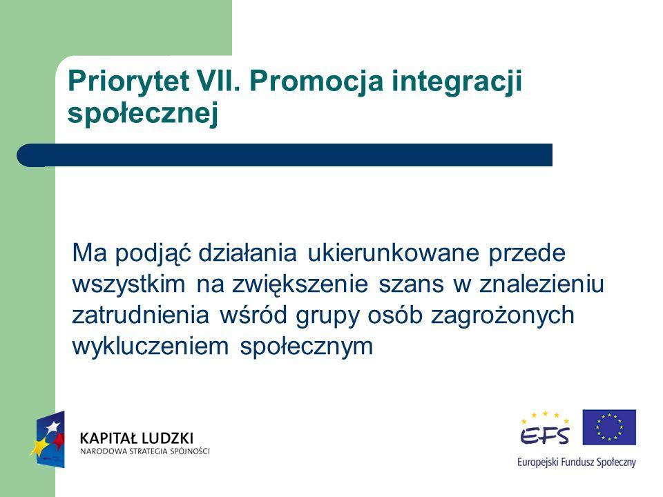 Priorytet VII. Promocja integracji społecznej Ma podjąć działania ukierunkowane przede wszystkim na zwiększenie szans w znalezieniu zatrudnienia wśród