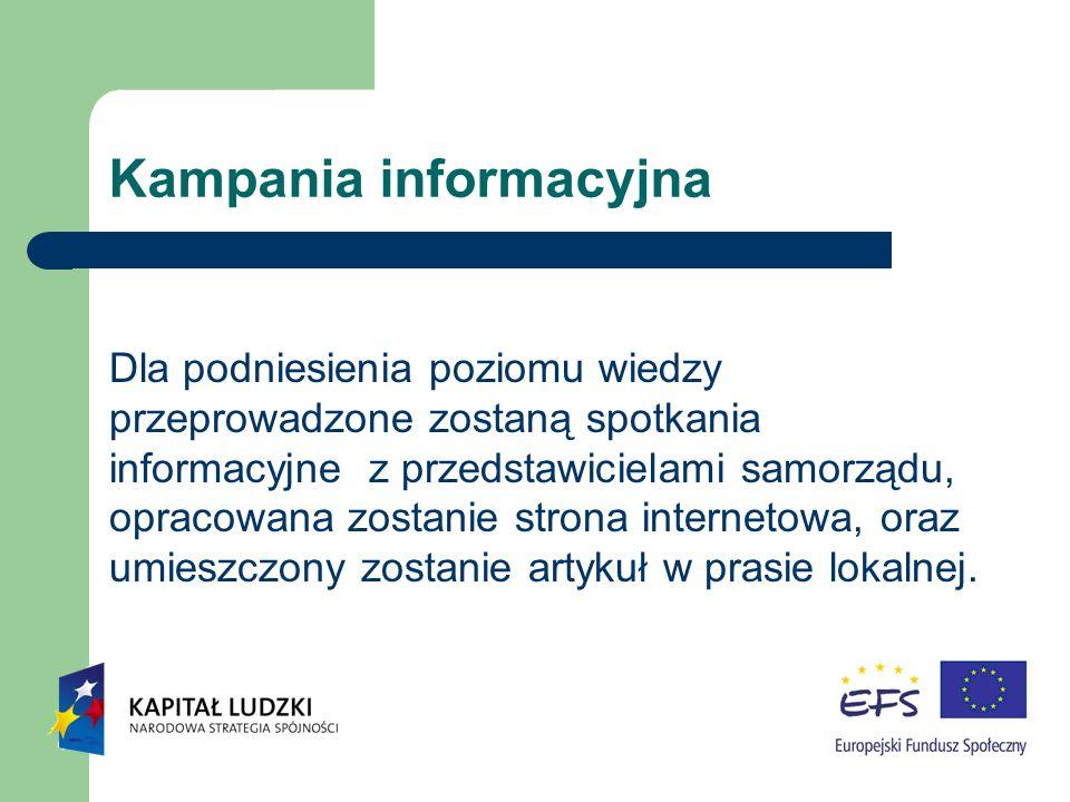 Kampania informacyjna Dla podniesienia poziomu wiedzy przeprowadzone zostaną spotkania informacyjne z przedstawicielami samorządu, opracowana zostanie