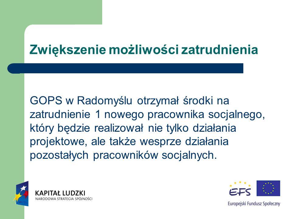 Zwiększenie możliwości zatrudnienia GOPS w Radomyślu otrzymał środki na zatrudnienie 1 nowego pracownika socjalnego, który będzie realizował nie tylko działania projektowe, ale także wesprze działania pozostałych pracowników socjalnych.