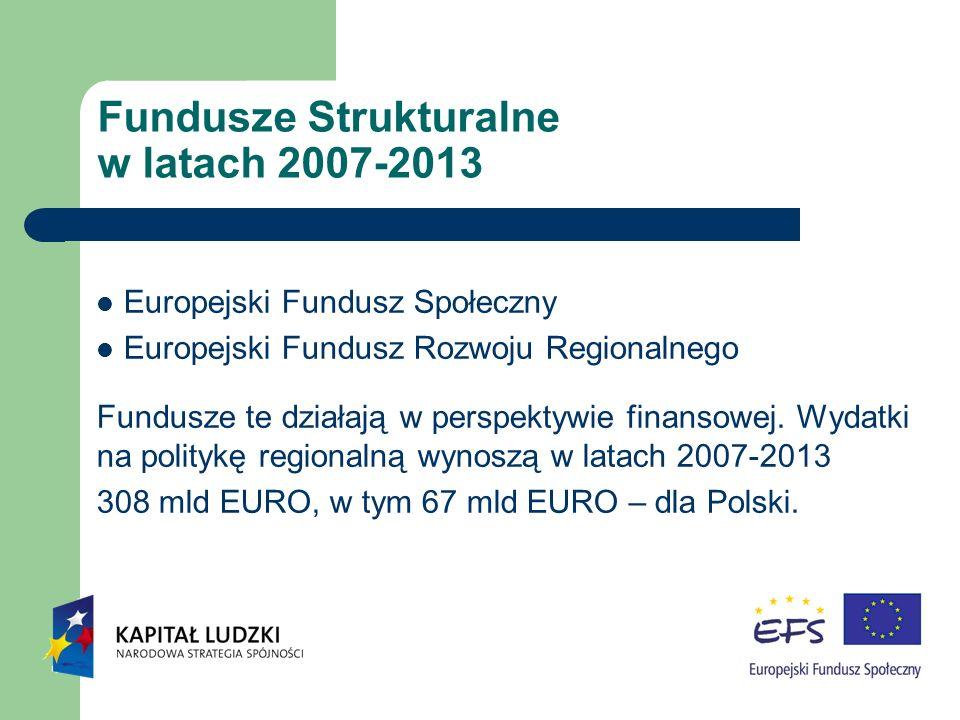 Fundusze Strukturalne w latach 2007-2013 Europejski Fundusz Społeczny Europejski Fundusz Rozwoju Regionalnego Fundusze te działają w perspektywie fina