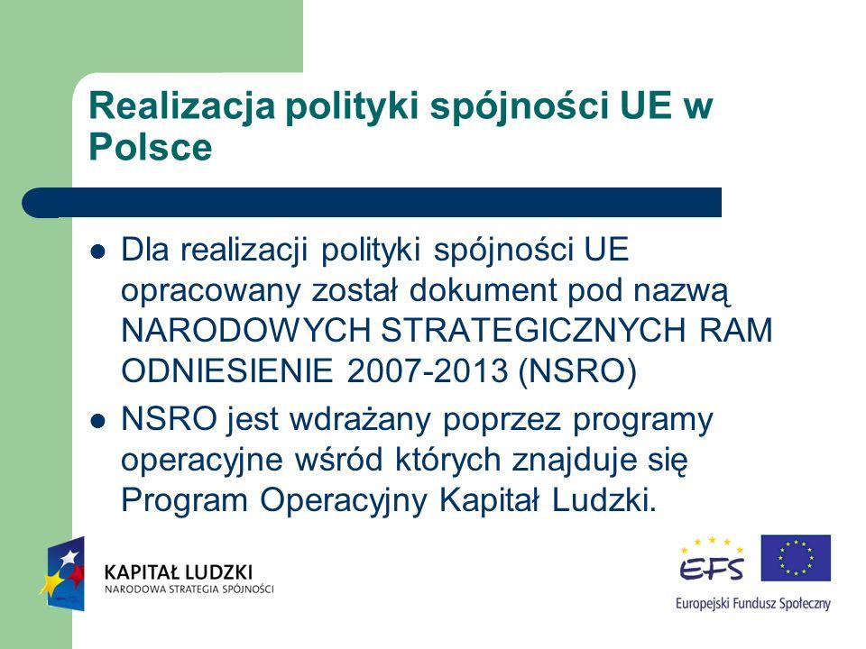 Realizacja polityki spójności UE w Polsce Dla realizacji polityki spójności UE opracowany został dokument pod nazwą NARODOWYCH STRATEGICZNYCH RAM ODNIESIENIE 2007-2013 (NSRO) NSRO jest wdrażany poprzez programy operacyjne wśród których znajduje się Program Operacyjny Kapitał Ludzki.