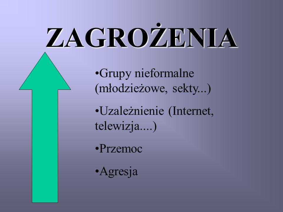 ZAGROŻENIA Grupy nieformalne (młodzieżowe, sekty...) Uzależnienie (Internet, telewizja....) Przemoc Agresja