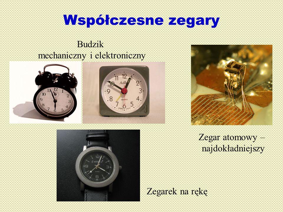 Współczesne zegary Zegarek na rękę Zegar atomowy – najdokładniejszy Budzik mechaniczny i elektroniczny
