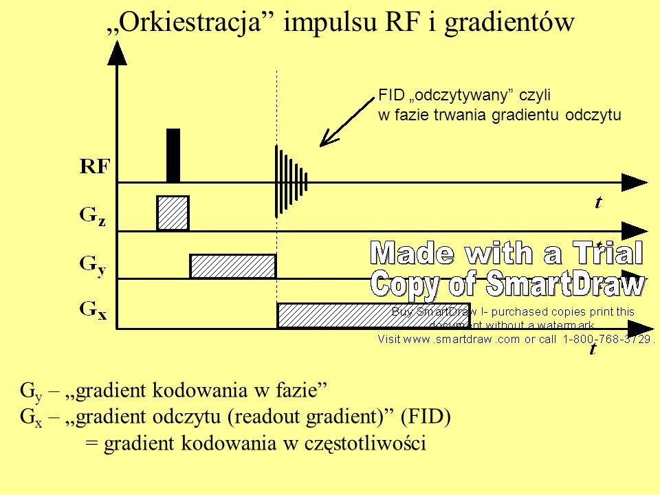 Orkiestracja impulsu RF i gradientów G y – gradient kodowania w fazie G x – gradient odczytu (readout gradient) (FID) = gradient kodowania w częstotli
