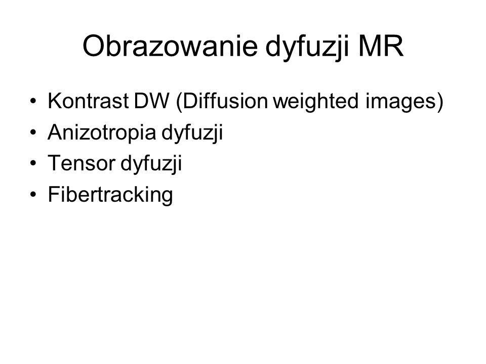 Obrazowanie dyfuzji MR Kontrast DW (Diffusion weighted images) Anizotropia dyfuzji Tensor dyfuzji Fibertracking