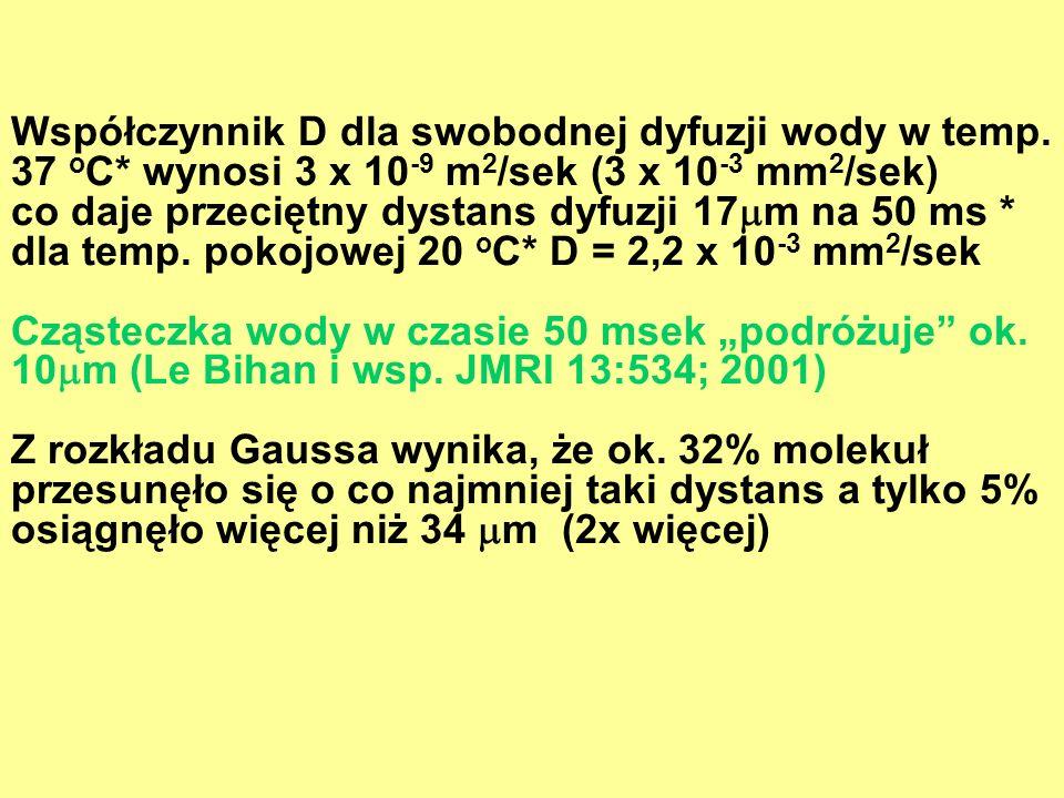 Współczynnik D dla swobodnej dyfuzji wody w temp. 37 o C* wynosi 3 x 10 -9 m 2 /sek (3 x 10 -3 mm 2 /sek) co daje przeciętny dystans dyfuzji 17 m na 5