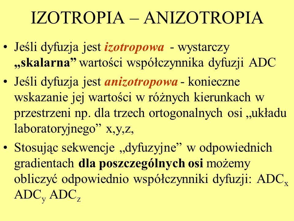 IZOTROPIA – ANIZOTROPIA Jeśli dyfuzja jest izotropowa - wystarczy skalarna wartości współczynnika dyfuzji ADC Jeśli dyfuzja jest anizotropowa - koniec