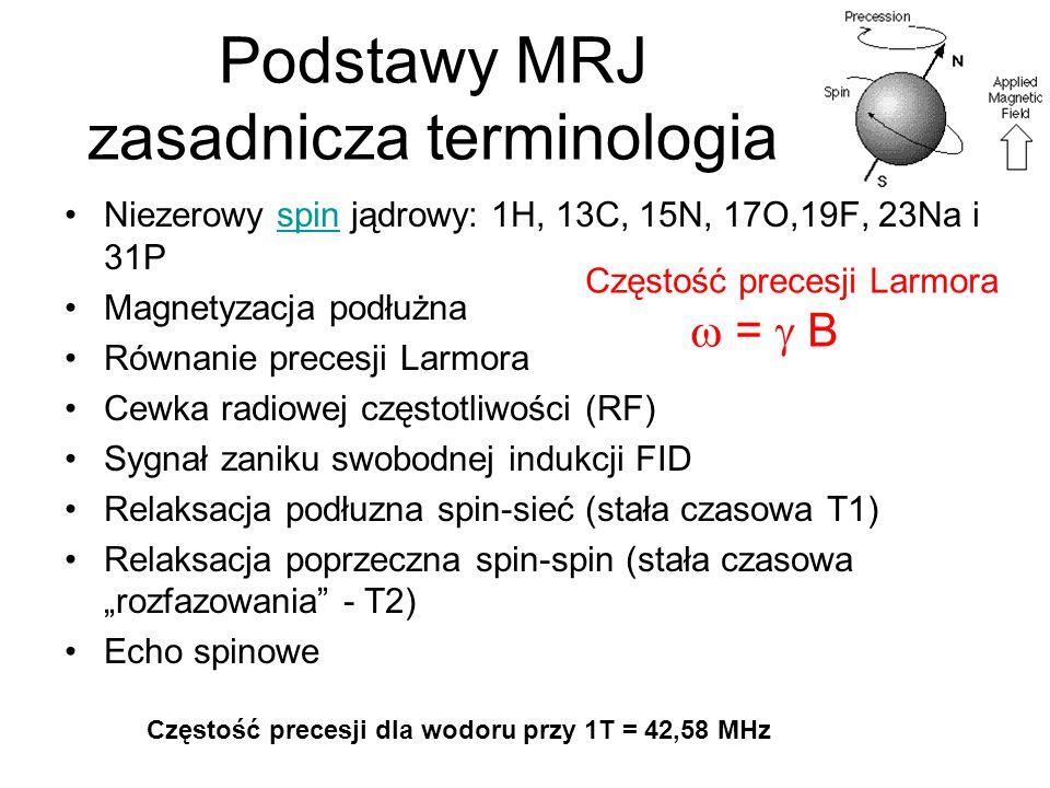 Podstawy MRJ zasadnicza terminologia Niezerowy spin jądrowy: 1H, 13C, 15N, 17O,19F, 23Na i 31Pspin Magnetyzacja podłużna Równanie precesji Larmora Cew