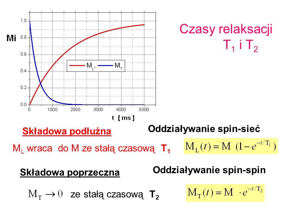 Czasy relaksacji T 1 i T 2 Składowa poprzeczna ze stałą czasową T 2 Składowa podłużna M L wraca do M ze stałą czasową T 1 Oddziaływanie spin-sieć Oddz