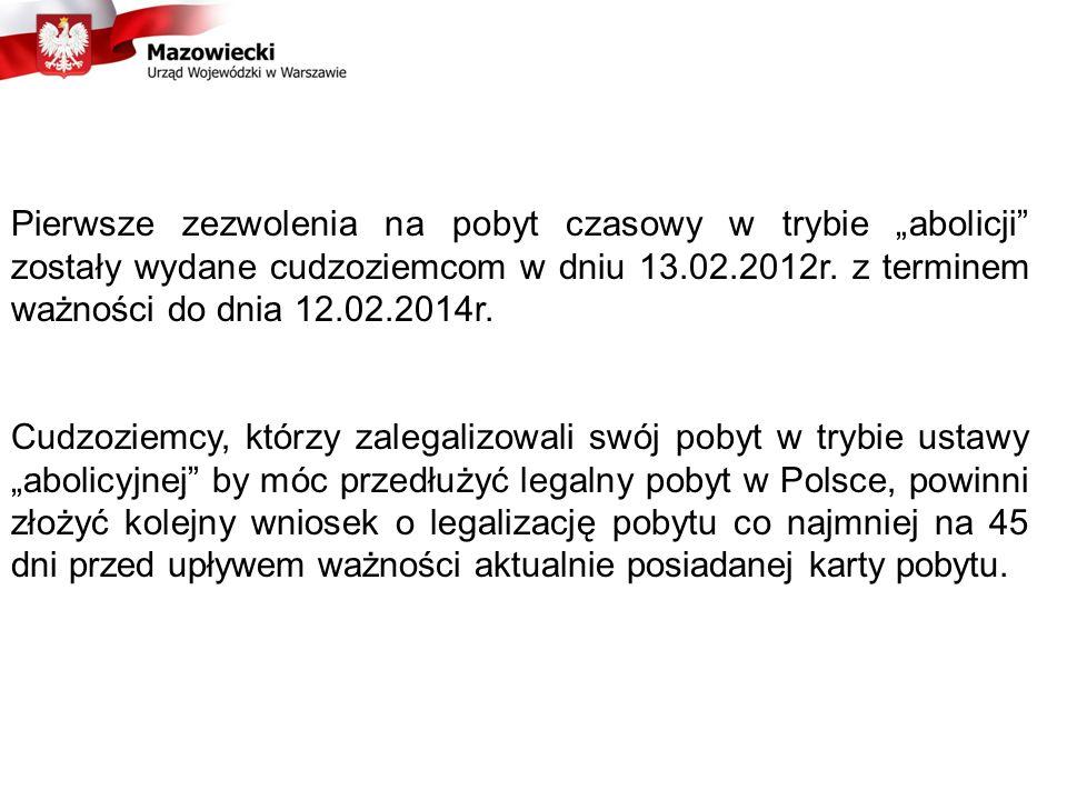 Pierwsze zezwolenia na pobyt czasowy w trybie abolicji zostały wydane cudzoziemcom w dniu 13.02.2012r.