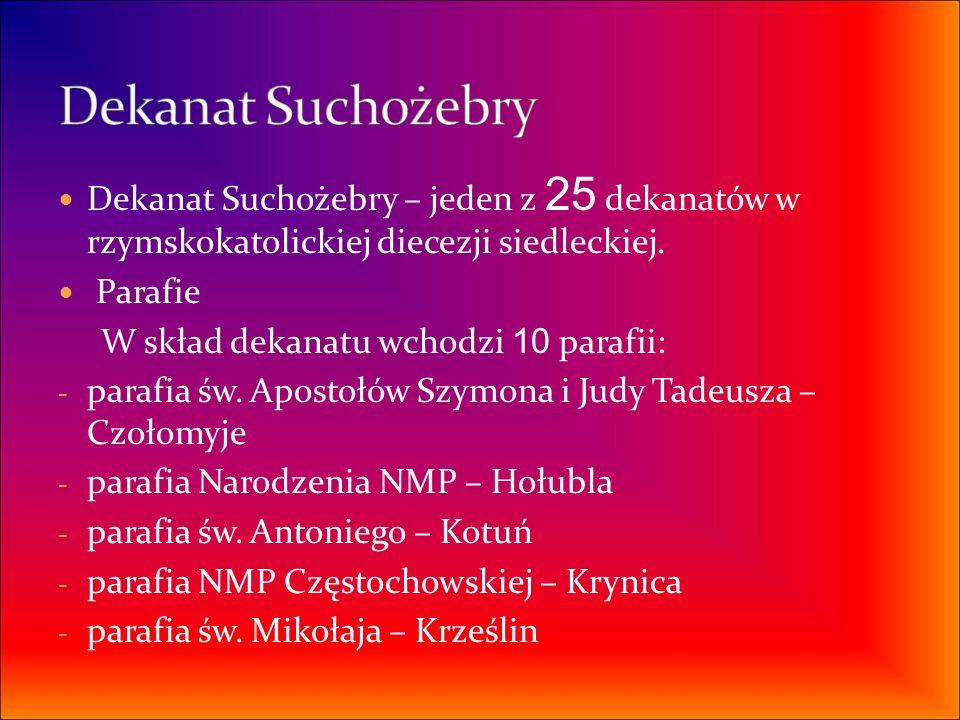 Dekanat Suchożebry – jeden z 25 dekanatów w rzymskokatolickiej diecezji siedleckiej. Parafie W skład dekanatu wchodzi 10 parafii: - parafia św. Aposto