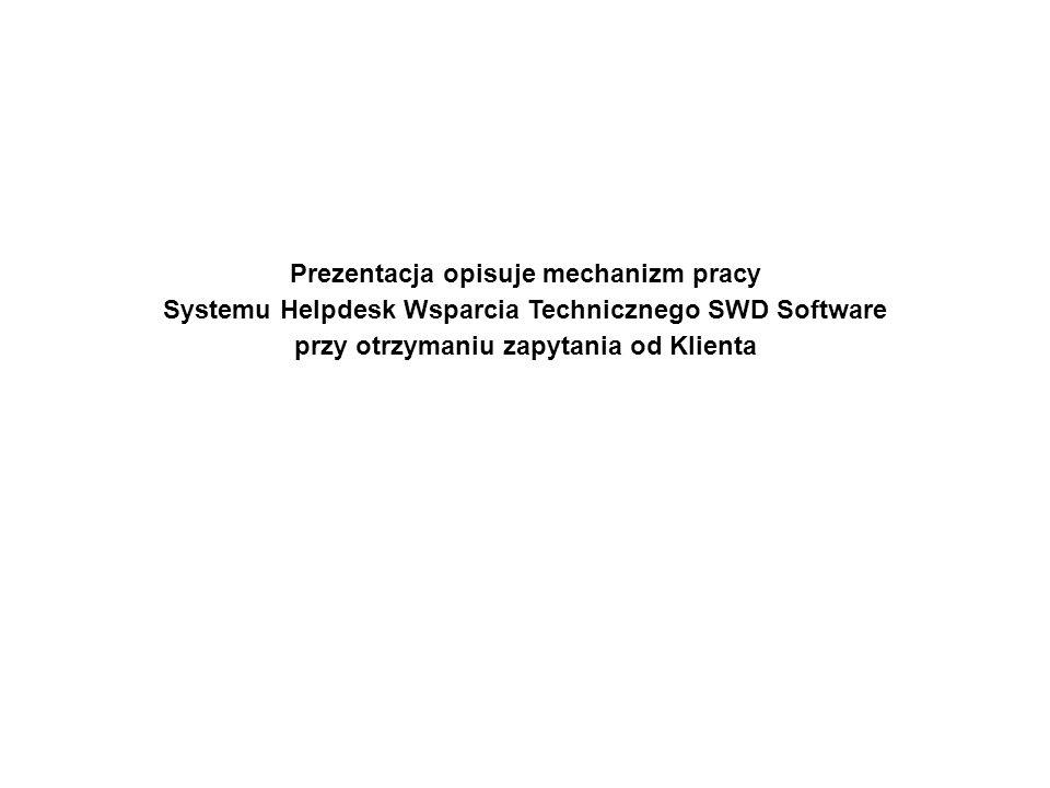 Prezentacja opisuje mechanizm pracy Systemu Helpdesk Wsparcia Technicznego SWD Software przy otrzymaniu zapytania od Klienta