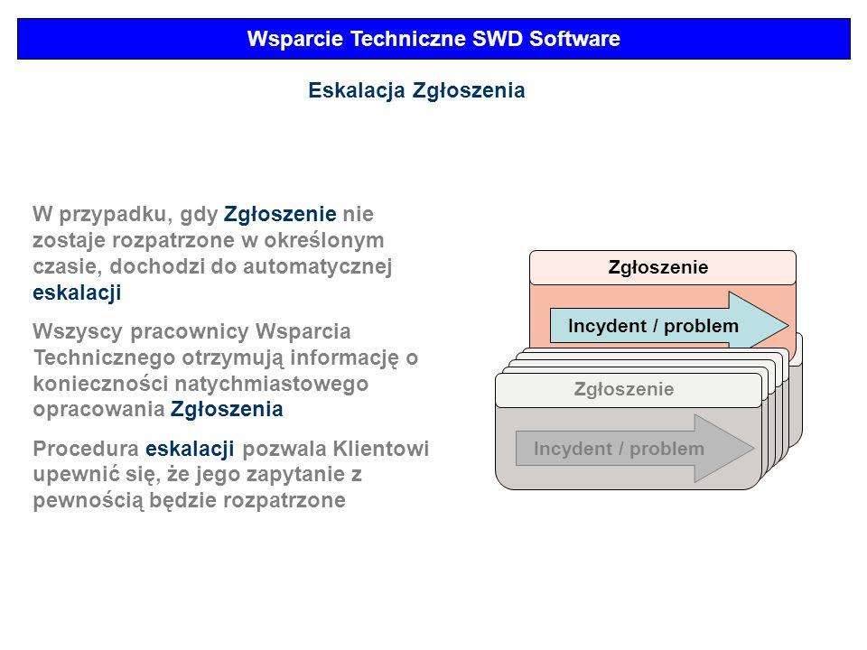 Wsparcie Techniczne SWD Software Zgłoszenie Incydent / problem Eskalacja Zgłoszenia Zgłoszenie Incydent / problem W przypadku, gdy Zgłoszenie nie zost