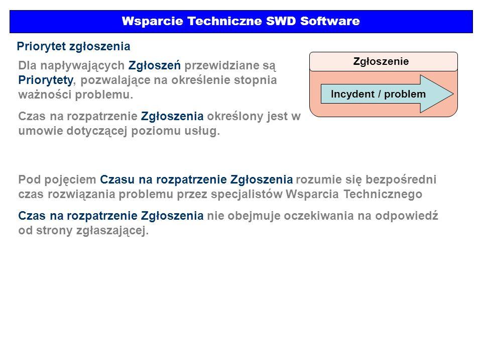 Wsparcie Techniczne SWD Software Zgłoszenie Incydent / problem Priorytet zgłoszenia Dla napływających Zgłoszeń przewidziane są Priorytety, pozwalające