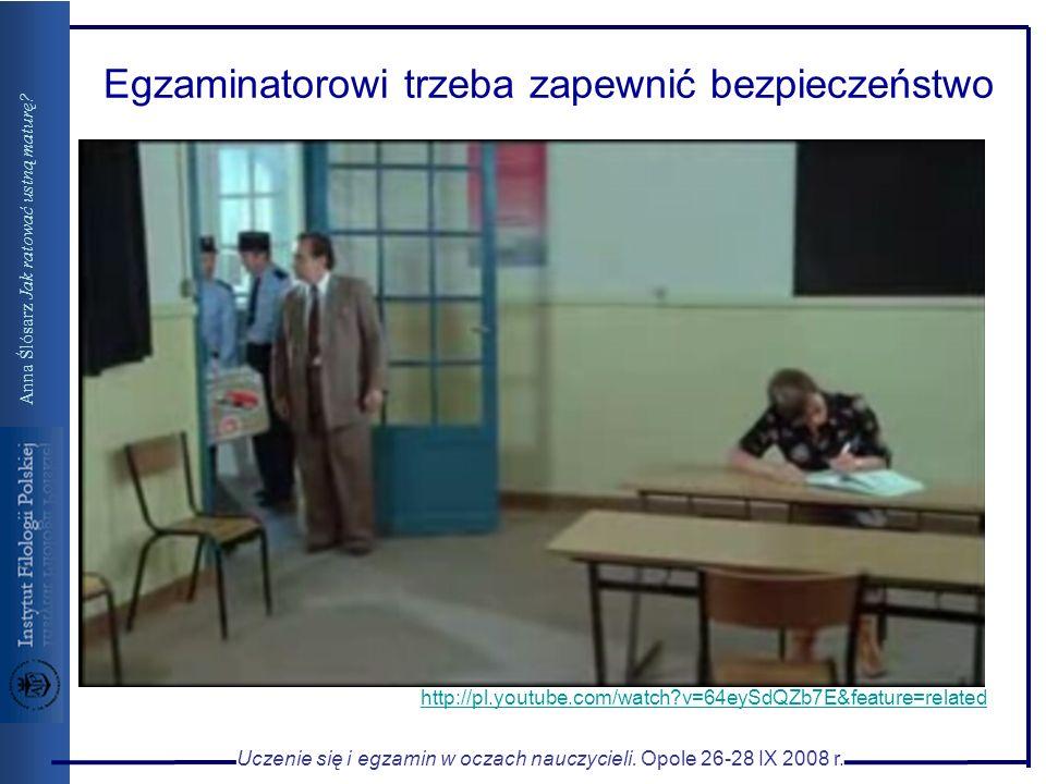 Uczenie się i egzamin w oczach nauczycieli. Opole 26-28 IX 2008 r. Anna Ślósarz Jak ratować ustną maturę? http://pl.youtube.com/watch?v=64eySdQZb7E&fe