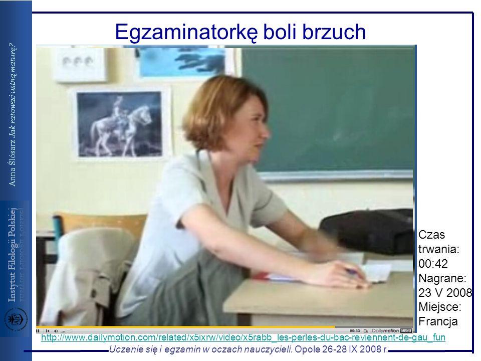 Uczenie się i egzamin w oczach nauczycieli. Opole 26-28 IX 2008 r. Anna Ślósarz Jak ratować ustną maturę? Egzaminatorkę boli brzuch http://www.dailymo
