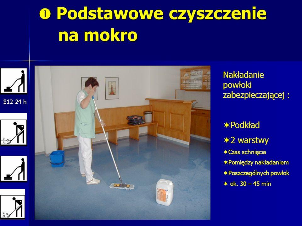 Podstawowe czyszczenie na mokro Podstawowe czyszczenie na mokro 12-24 h Nakładanie powłoki zabezpieczającej : Podkład 2 warstwy Czas schnięcia Pomiędz