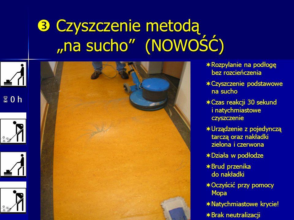 0 h Czyszczenie metodą na sucho (NOWOŚĆ) Czyszczenie metodą na sucho (NOWOŚĆ) Rozpylanie na podłogę bez rozcieńczenia Czyszczenie podstawowe na sucho Czas reakcji 30 sekund i natychmiastowe czyszczenie Urządzenie z pojedynczą tarczą oraz nakładki zielona i czerwona Działa w podłodze Brud przenika do nakładki Oczyścić przy pomocy Mopa Natychmiastowe krycie.