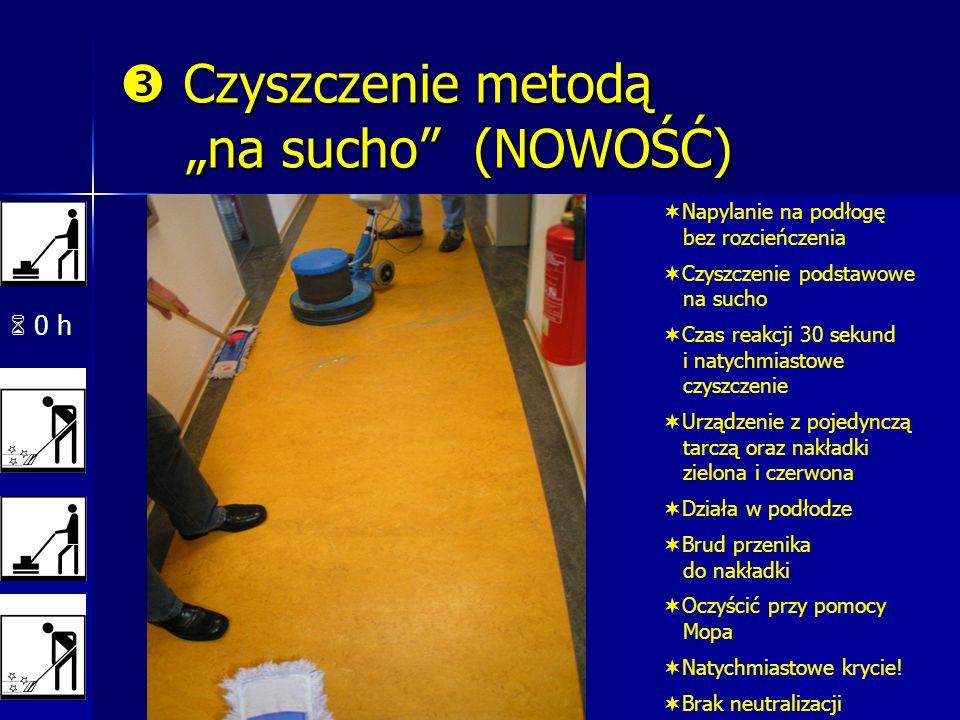 0 h Czyszczenie metodą na sucho (NOWOŚĆ) Czyszczenie metodą na sucho (NOWOŚĆ) Napylanie na podłogę bez rozcieńczenia Czyszczenie podstawowe na sucho Czas reakcji 30 sekund i natychmiastowe czyszczenie Urządzenie z pojedynczą tarczą oraz nakładki zielona i czerwona Działa w podłodze Brud przenika do nakładki Oczyścić przy pomocy Mopa Natychmiastowe krycie.