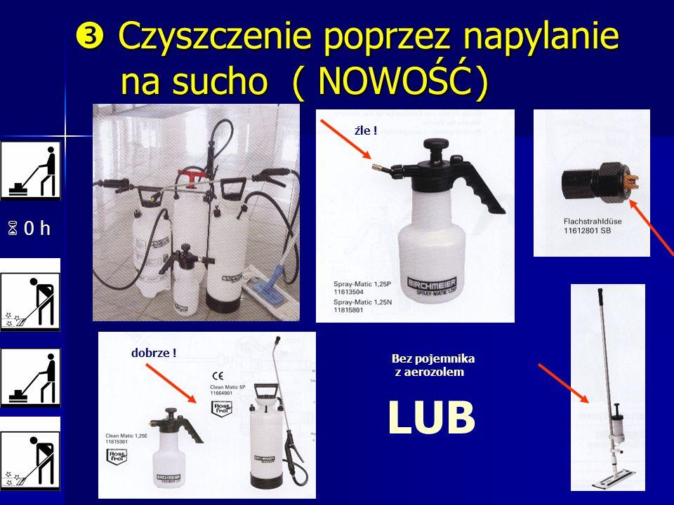 0 h źle ! dobrze ! LUB Bez pojemnika z aerozolem Czyszczenie poprzez napylanie na sucho ( NOWOŚĆ) Czyszczenie poprzez napylanie na sucho ( NOWOŚĆ )