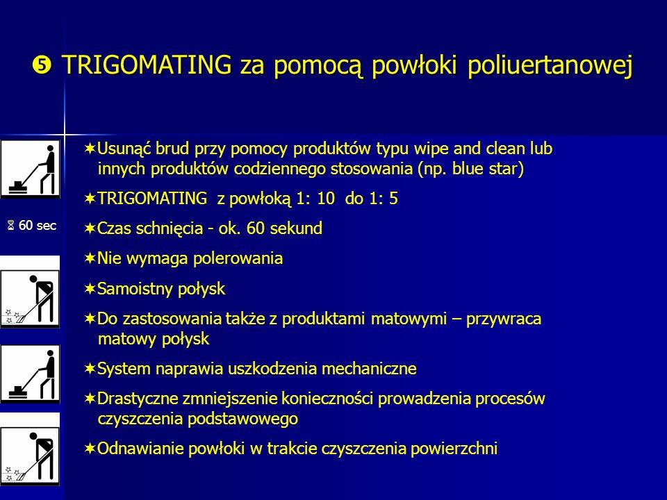 TRIGOMATING za pomocą powłoki poliuertanowej TRIGOMATING za pomocą powłoki poliuertanowej 60 sec Usunąć brud przy pomocy produktów typu wipe and clean lub innych produktów codziennego stosowania (np.